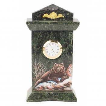 Часы медведь змеевик бронза 120х60х225 мм 1250 гр.