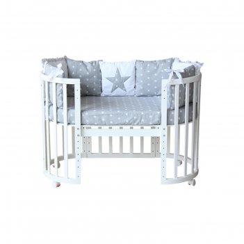 Комплект в кроватку «звёзды», размер 60x120 см, 5 предметов, цвет серый