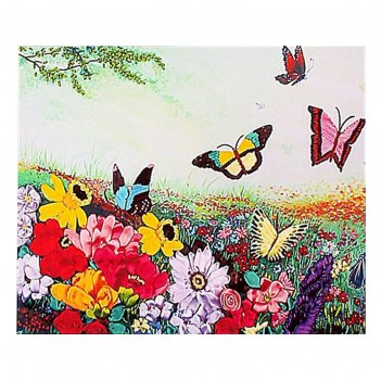 Набор для вышивания лентами цветочное поле размер основы 65*50 см