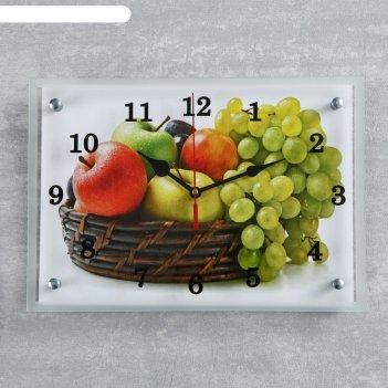Часы настенные, серия: кухня, корзина с фруктами, 25х35  см, микс