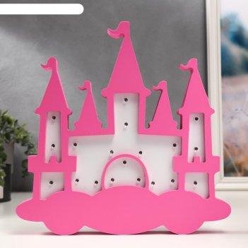 Ночник замок принцессы 19хled батарейки 2ааа бело-розовый 29,5х3,5х29,5 см