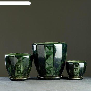 Набор кашпо 3 шт.  спарта зеленый: 11,5л, 5,л, 1,8л