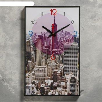 Часы настенные, серия: город, мегаполис, 1 аа, плавный ход, 37х60 см