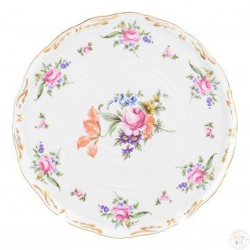 Тарелка для торта queens crown корона полевой цветок 28 см