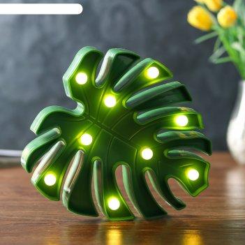 Ночник лист 9хled батарейки 2аа зеленый 18х3х20 см