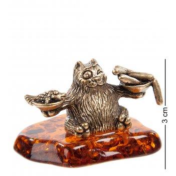 Am- 759 фигурка кот-весы (латунь, янтарь)