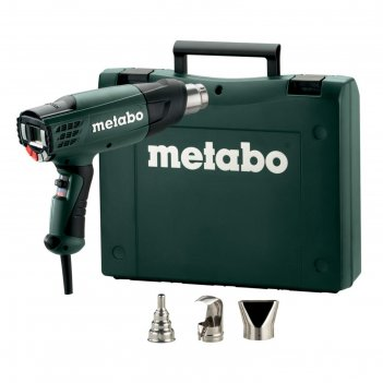 Фен metabo he 23-650, 2300вт, t=50/50-650°c, 4м кабель, кейс, 3 насадки, ж