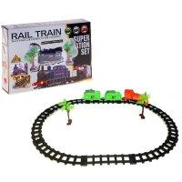 Железная дорога грузовой локомотив, работает от батареек, с 2 вагонами