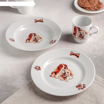 Набор посуды 3 пр щенки (т. 20 см мел., т. 20 см глуб., кружка 210 мл)