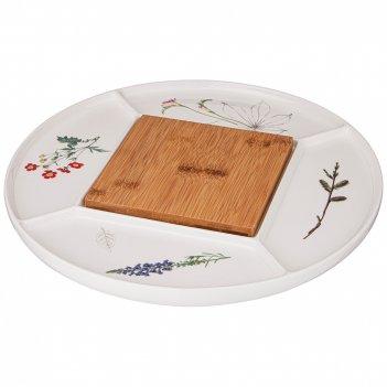 Менажница bronco meadow 32,5*32,5*2 см с деревянной доской15*15*1 см