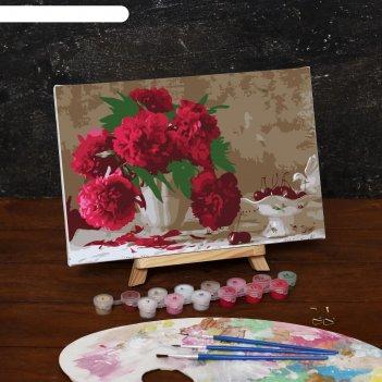 Картина по номерам на холсте розовые пионы, 30*20 см