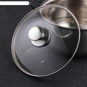 Крышка для сковороды и кастрюли стеклянная jarko, d=24 см, с ручкой из нер