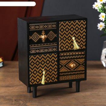 Шкатулка дерево комод ретро 4 ящика узоры чёрная с золотым рисунком 26,5х1