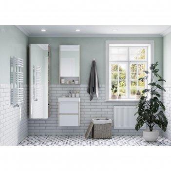 Шкаф-колонна aquaton «сканди» с зеркалом, цвет белый, дуб верона