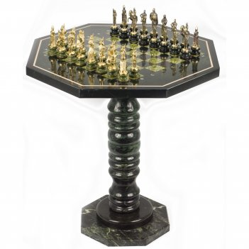 Шахматный стол фигуры русские на подставках бронза змеевик 600х600х620 м