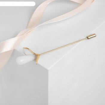 Булавка цветок калла, 8,5см, цвет белый в золоте