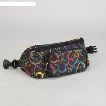 7941д сумка поясная, 25*5*11, отд на молнии, н/карман, черный/узор