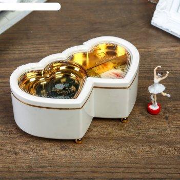 Шкатулка музыкальная пластик механическая двойное сердце белое 6х16х10 см