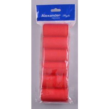Набор 1328 бигуди-липучки 35 мм красные мягкие (6 шт)