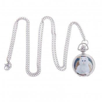 Карманные часы белая кошка, кварцевые, на цепочке 80см, d=3см