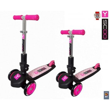 Самокат y-scoo rt trio 120 pink (от 2 лет, до 50 кг)