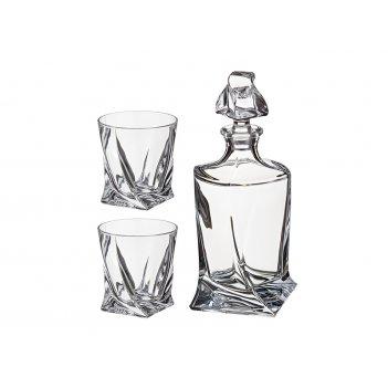 Набор для виски квадро 3пр.: штоф+2 стакана 850/400 мл. высота=27/10 см. (