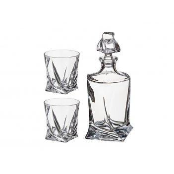 Набор для виски квадро 3пр.: штоф+2 стакана 850/...