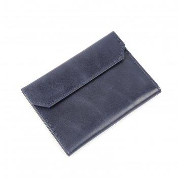 Обложка для паспорта на кнопке, 5 карманов, синий крек