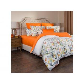 Кпб 1,5 сп гармоника,хлопок 100%,цветы+оранжевый...