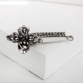 Булавка цветок, 8,5см, цвет тёмно-серый в чернёном серебре