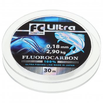 Леска aqua fc ultra fluorocarbon, длина 30 м, d=0,18 мм