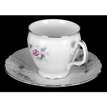 Набор для чая роза серая платина на 6перс.12пред. выс.
