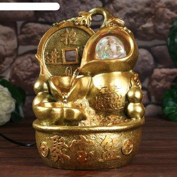 Фонтан настольный от сети, подсветка китайская монета золото 26х18х17 см