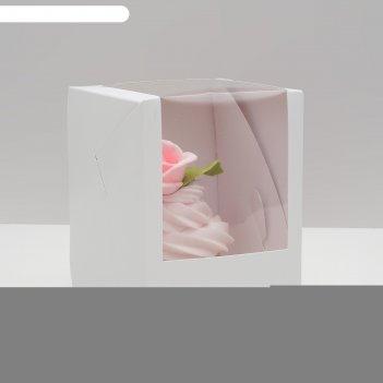 Упаковка под один капкейк с окном, белая, 12,5 х 9,5 х 9,5 см