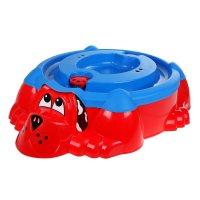 Песочница-бассейн собачка с крышкой, цвета микс