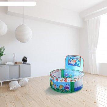 Палатка детская игровая - сухой бассейн для шариков зверята 100х38,5 (90)