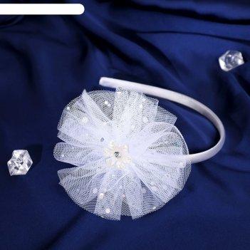 Ободок для волос выпускница 0,5 см, цветок, блеск, белый