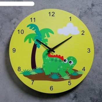 Часы настенные, серия: детские,  динозаврик с пальмой, d=29.5 см