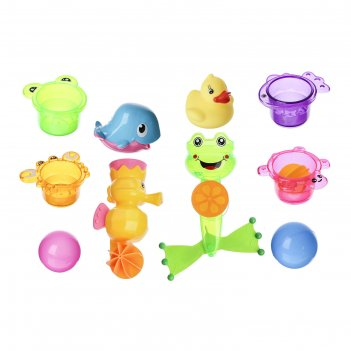 Игрушки для купания «лягушонок и морской конёк», 10 предметов, на присоске