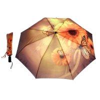 Зонт женский flioraj бабочка и цветы, 3 сложения, суперавтомат, сатин