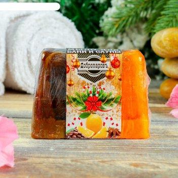 Натуральное мыло для бани и сауны апельсин- корица- кофе, добропаровъ, нов