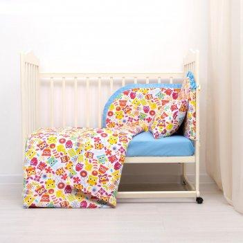 Комплект в кроватку (4 предмета), диз. совята с горошком на голубом