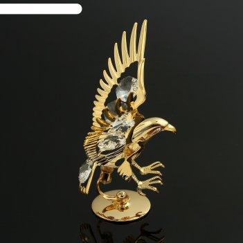 Сувенир «орёл», на подставке, 10x5x8 см, с кристаллами сваровски
