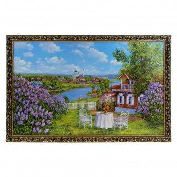 Картина чаепитие в саду 60*100 см