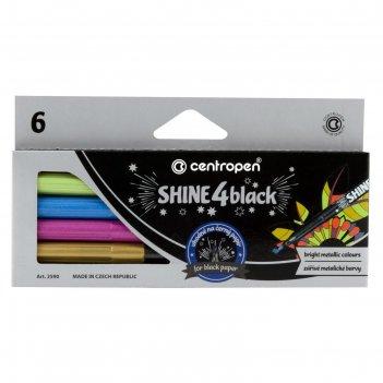 Фломастеры д/черн бумаги 6цв centropen 2590/01 shine, 1,0 мм, карт/уп евро