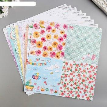 Набор бумаги для скрапбукинга hello baby! (8 листов) 30.5х30.5 см, 190 гр/