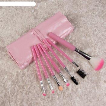 Набор кистей для макияжа, 7 предметов, цвет розовый