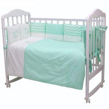 Комплект в кроватку долли, 6 предметов, цвет бирюзовый 670/7