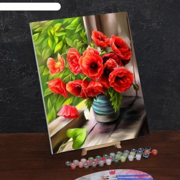 Картина по номерам на холсте с подрамником летнее утро. маки 40*50 см