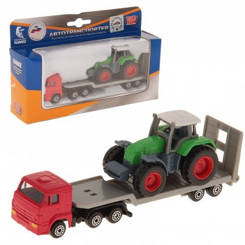 Машина металлическая «камаз транспортер с трактором»